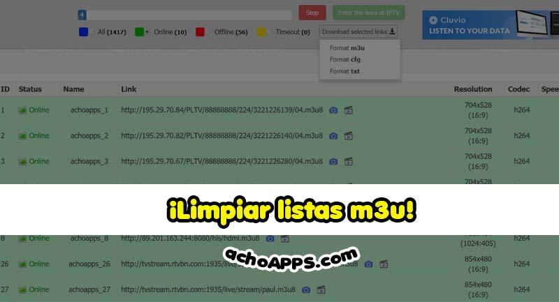 CHECK LISTAS M3U 🥇 IPTV Tools - IPTV Checker online ¡achoAPPS!