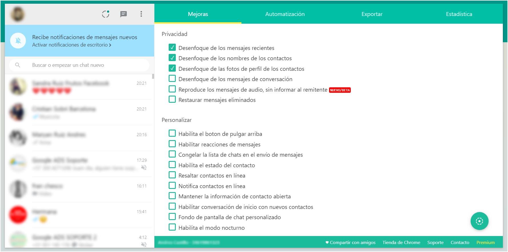 Mejoras Whatsapp Web